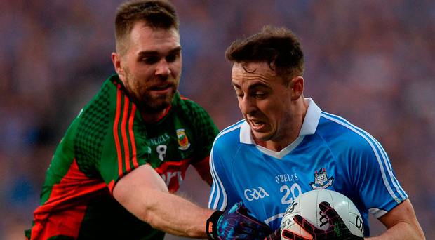 Seamus O'Shea tries to shackle Cormac Costello, but the Dublin substitute's introduction in the second half turned the tide in his side's favour. Photo: Eóin Noonan/Sportsfile
