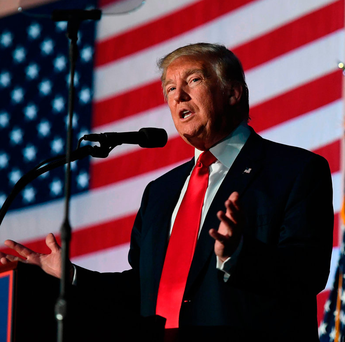 Only five weeks to go: US Republican presidential nominee Donald Trump speaks during a campaign rally in Michigan. Trump is currently slightly trailing Clinton in the polls - but anything could happen before November 8 Photo: Jewel Samad/Getty