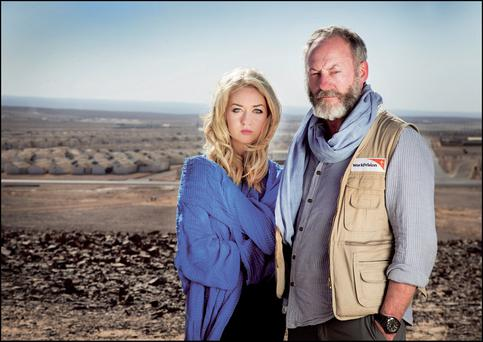 Niamh Horan and Liam Cunningham on the Syrian border. Photo: David Conachy