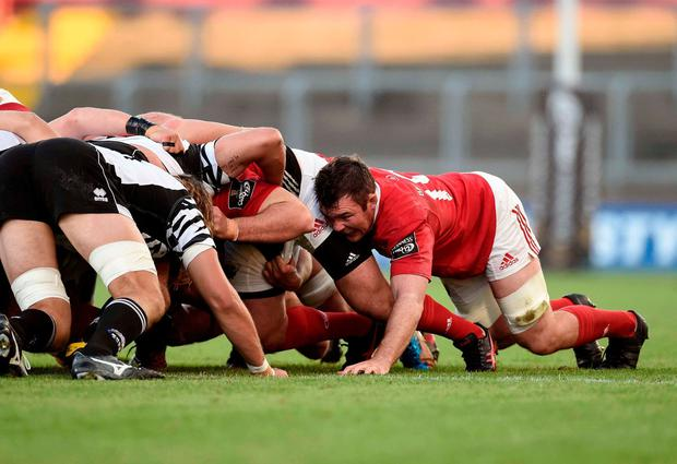 Munster's Peter O'Mahony in action in a scrum. Photo: Diarmuid Greene/Sportsfile