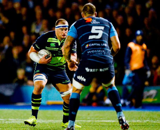 Leinster's Rhys Ruddock in action against Cardiff Blues' Josh Turnbull. Photo: Seb Daly/Sportsfile