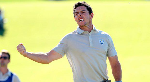 Oct 1, 2016; Chaska, MN, USA; Rory McIlroy of Northern Ireland reacts to making a birdie on the tenth hole during the morning foursome matches in the 41st Ryder Cup at Hazeltine National Golf Club. Mandatory Credit: Rob Schumacher-USA TODAY Sports
