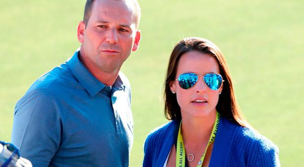 Europe's Sergio Garcia with girlfriend Angela Akins at the Ryder Cup