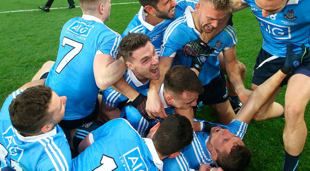 Dublin players celebrate after victory over Mayo, All Ireland Football Final Replay, Croke Park, Dublin. Picture credit; Damien Eagers 1/10/2016