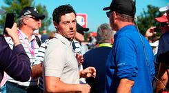 Europe's Rory McIlroy after pointing out a fan hurled abuse at him