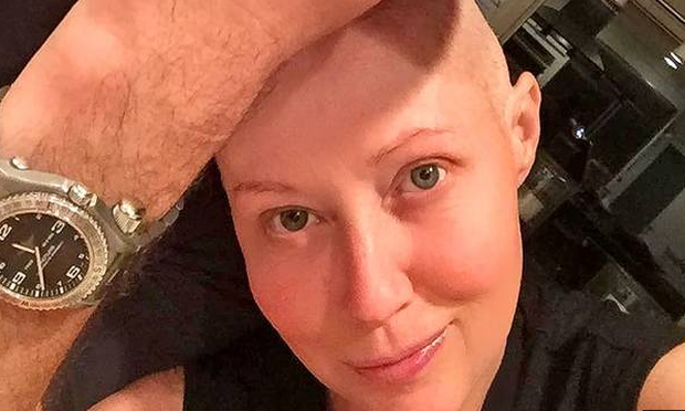 Shannen Doherty has revealed her hair is growing back amid treatment for breast cancer. Pic: Instagram