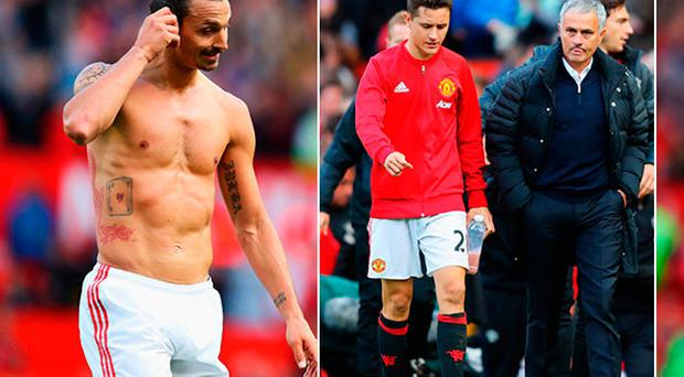 Zlatan Ibrahimovic and (right) a dejected Jose Mourinho with Ander Herrera