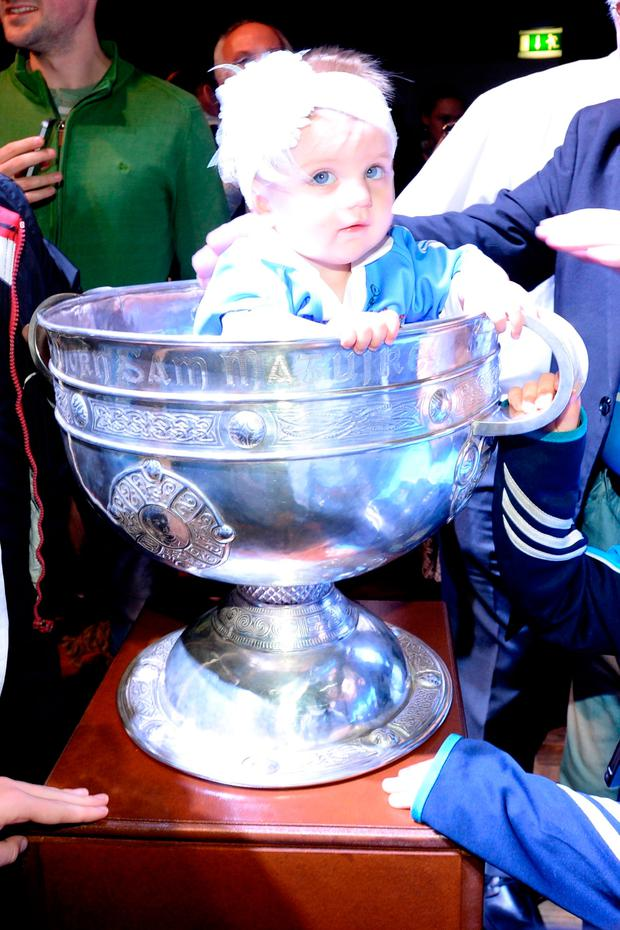 Remi McKenna (8 Months) from Cabra at the Mansion House to celebrate the All Ireland Champions Dublin. Pic: Justin Farrelly.