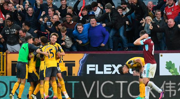 Britain Soccer Football - Burnley v Arsenal - Premier League - Turf Moor - 2/10/16 Arsenal's Laurent Koscielny celebrates scoring their first goal with Alex Oxlade-Chamberlain and team mates Reuters / Anthony Devlin Livepic EDITORIAL USE ONLY.