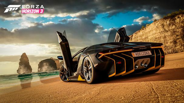 Forza Horizon 3: The Lamborghini on the beach is typical of the game's combination of flash motors and great locations
