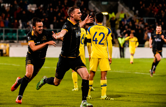 Dundalk's Ciaran Kilduff (R) celebrates after scoring the winning goal against Maccabi Tel Aviv on Thursday. Photo by David Maher/Sportsfile