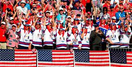 American vice-captain Bubba Watson cheers with fans in the grandstand. Photo: Streeter Lecka/Getty Images