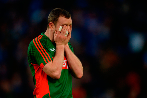Keith Higgins of Mayo dejected after the match. Photo: Sportsfile