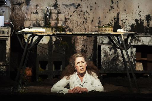 Caption: Brid Ni Neachtain as Maisie in The Remains of Maisie Duggan in Peacock Theatre as part of Dublin Theatre Festival. Photograph by Ros Kavanagh.