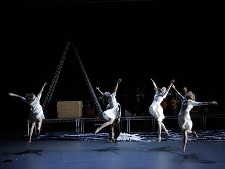 Rachel Poirier, Molly Walker, Carys Staton and Anna Kaszuba in Swan Lake/Loch na hEala in O'Reilly Theatre as part of Dublin Theatre Festival. Photo: Colm Hogan