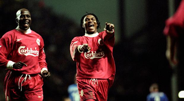 Rigobert Song of Liverpool celebrates in 1999