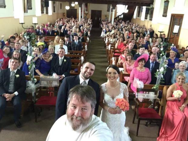 The selfie captured by Fr. Pat at the wedding of Sinead and Chris O'Donnell