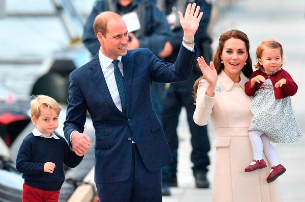 The Duke and Duchess of Cambridge, Prince George and Princess Charlotte attend a ceremony to mark their departure at Victoria Harbour seaplane terminal in Victoria during the Royal Tour of Canada.