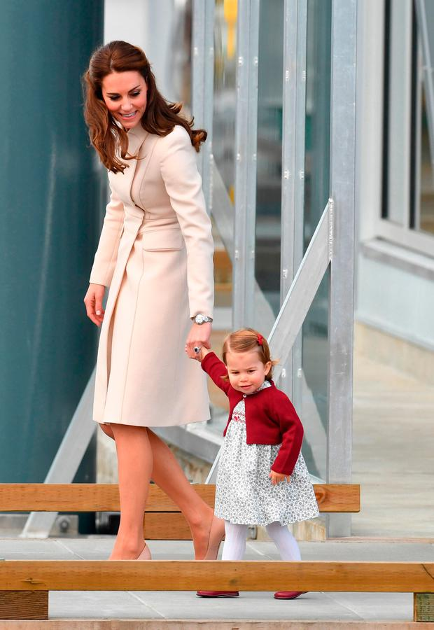 The Duchess of Cambridge and Princess Charlotte attend a ceremony to mark their departure at Victoria Harbour seaplane terminal in Victoria during the Royal Tour of Canada.