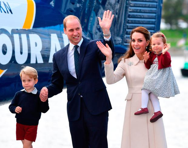 The Duke and Duchess of Cambridge, Prince George and Princess Charlotte after a ceremony to mark their departure at Victoria Harbour seaplane terminal in Victoria during the Royal Tour of Canada.