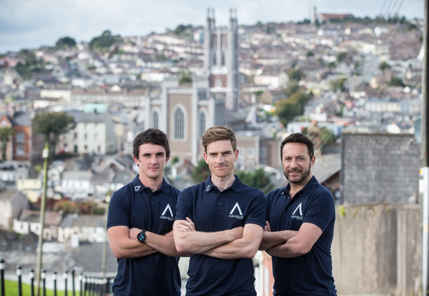 Martyn Irvine (Centre) alongside director of athletic performance Stephen Barrett and sporting director Tim Barry at the launch of Team Aqua Blue Sport.