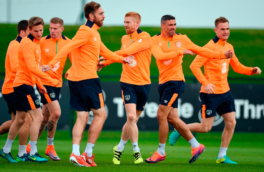 Republic of Ireland players from left Eunan O'Kane, James McClean, Richard Keogh, Paul McShane, Jonathan Walters and Alex Pearce during training in Abbotstown. Photo by David Maher/Sportsfile