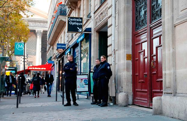 The scene outside the 'No Address Hotel' in Paris yesterday. THOMAS SAMSON/AFP/Getty Images