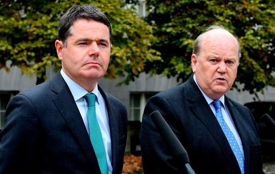 Ministers Paschal Donohoe and Michael Noonan. Photo: Tom Burke