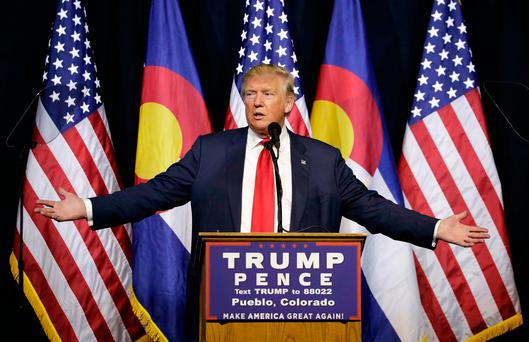 Republican presidential candidate Donald Trump speaks at a rally in Pueblo, Colorado. Photo: AP