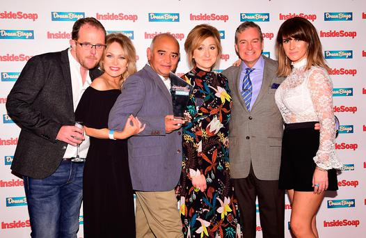 (left to right) Emmerdale's Liam Fox, Michelle Hardwick, Bhasker Patel, Charlotte Bellamy, John Middleton and Laura Norton pose with the Award for Best Soap at the Inside Soap Awards 2016 held at The Hippodrome Casino in London. PRESS ASSOCIATION Photo: Ian West/PA Wire