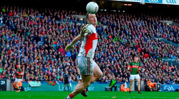 Mayo goalkeeper Rob Hennelly drops the ball which led to refereee Maurice Deegan awarding a penalty to Dublin during the GAA Football All-Ireland Senior Championship Final Replay match between Dublin and Mayo at Croke Park
