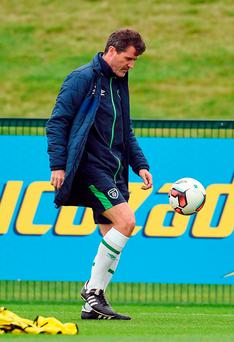 Republic of Ireland assistant manager Roy Keane during squad training at the FAI National Training Centre in Abbotstown, Dublin. Photo by Paul Mohan/Sportsfile