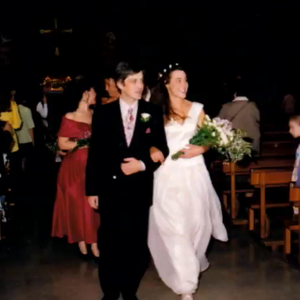 Emer and her husband Geoff on their wedding day. The pair have two children, Aisling and Ciara