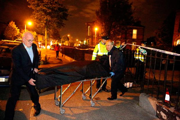 Remains are taken from a house on Dublins South Circular Road following a fatal incident. Picture; Gerry Mooney