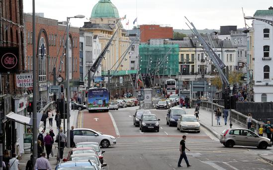 Private cars will be banned from the main shopping streets of Cork during peak traffic hours. Photo: PAUL FAITH/AFP/Getty Images