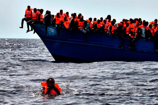 Migrants rescued in the Mediterranean yesterday. GETTY