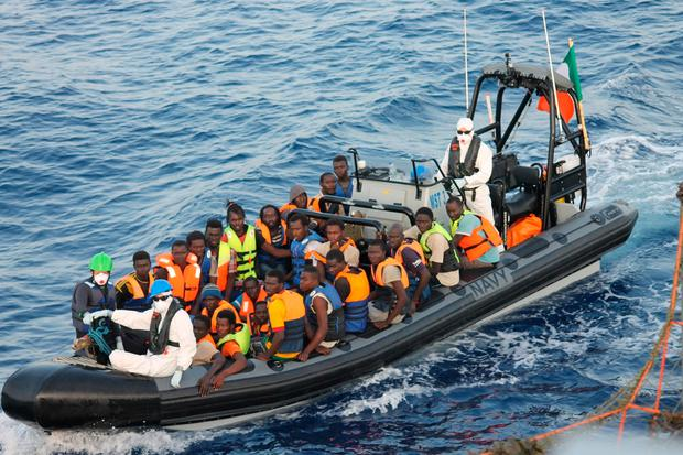 Some of the 220 people rescued by the crew of the LE Samuel Beckett yesterday