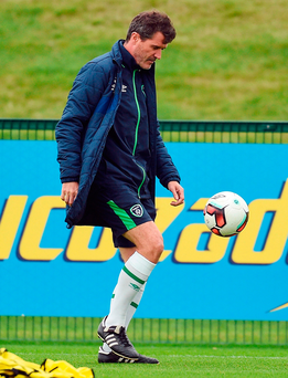 Republic of Ireland assistant manager Roy Keane during training in Abbotstown. Photo: Paul Mohan/Sportsfile