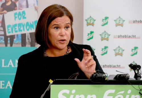 Mary Lou McDonald at the launch of the Sinn Féin alternative budget 2017 yesterday. Photo: Tom Burke