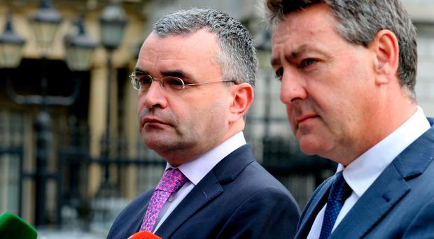 Fianna Fáils expenditure spokesman, Dara Calleary (right), claimed Fine Gael's record on older people was to throw them 'under the bus, budget after budget after budget' Photo: Tom Burke