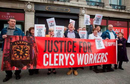 Former Clerys workers and supporters protesting outside the department store. Photo: Gareth Chaney Collins