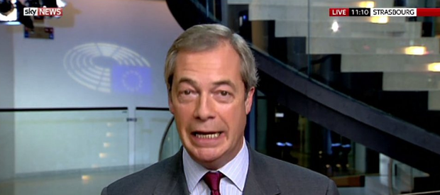 Nigel Farage appeared on Sky News this morning with a very fitting caption