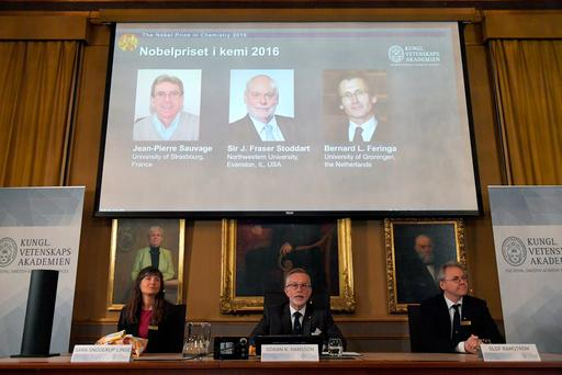 The Royal Academy of Sciences members present 2016 Nobel Chemistry Prize during a news conference by the Royal Swedish Academy of Sciences in Stockholm, Sweden Credit:TT News Agency/Henrik Montgomery/via Reuters