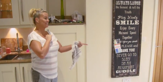 Kerry Katona is fond of positive quotes. Pic: TV3 / Livin' With Lucy