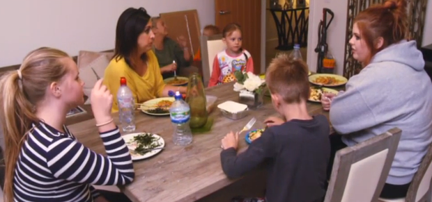 The family sit around the table for dinner. Pic: TV3 / Livin' With Lucy