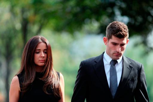 Footballer Ched Evans with partner Natasha Massey Credit: Steve Parsons/PA Wire