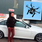 John Kelly with the recovered BMW and inset drone