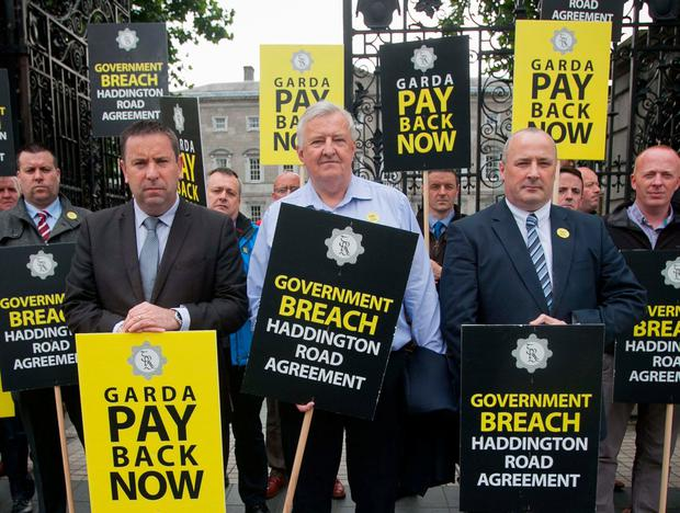 Garda Representative Association members during a protest over Garda salaries at Leinster House in June. Photo: Collins