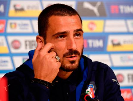 Leonardo Bonucci speaks to the media in Florence (Photo by Claudio Villa/Getty Images)