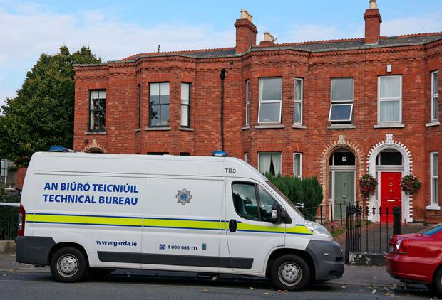 Gardai remain at the scene of a fatal knife attack in a flat on the South Circular Road, Dublin. Picture Colin Keegan, Collins Dublin.